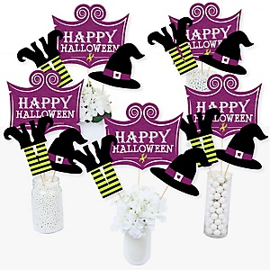 Happy Halloween - Witch Party Centerpiece Sticks - Table Toppers - Set of 15