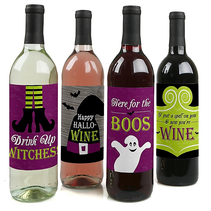 Happy Halloween - Witch Party Decorations for Women and Men - Wine Bottle Label Stickers - Set of 4