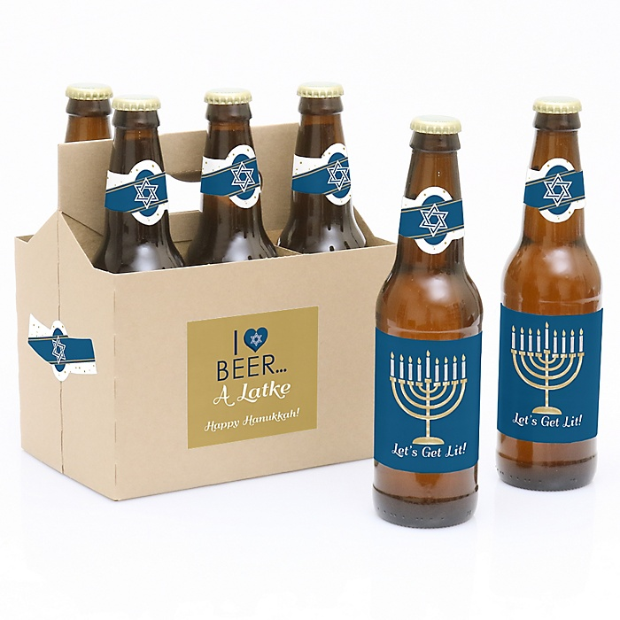 Happy Hanukkah - Decorations for Women and Men - 6 Chanukah Beer Bottle Label Stickers and 1 Carrier
