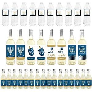 Happy Hanukkah - Mini Wine Bottle Labels, Wine Bottle Labels and Water Bottle Labels - Chanukah Holiday Party Decorations - Beverage Bar Kit - 34 Pieces