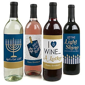 Happy Hanukkah - Chanukah Decorations for Women and Men - Wine Bottle Label Stickers - Set of 4