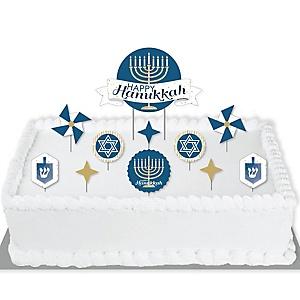 Happy Hanukkah - Chanukah Holiday Party Cake Decorating Kit - Happy Hanukkah Cake Topper Set - 11 Pieces