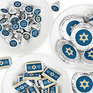 Happy Hanukkah - Mini Candy Bar Wrappers, Round Candy Stickers and Circle Stickers - Chanukah Candy Favor Sticker Kit - 304 Pieces