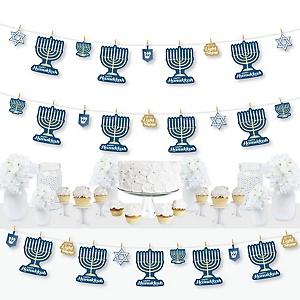 Happy Hanukkah - Chanukah DIY Party Decorations - Clothespin Garland Banner - 44 Pieces