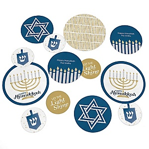 Happy Hanukkah - Personalized Chanukah Giant Circle Confetti - Hanukkah Decorations - Large Confetti 27 Count