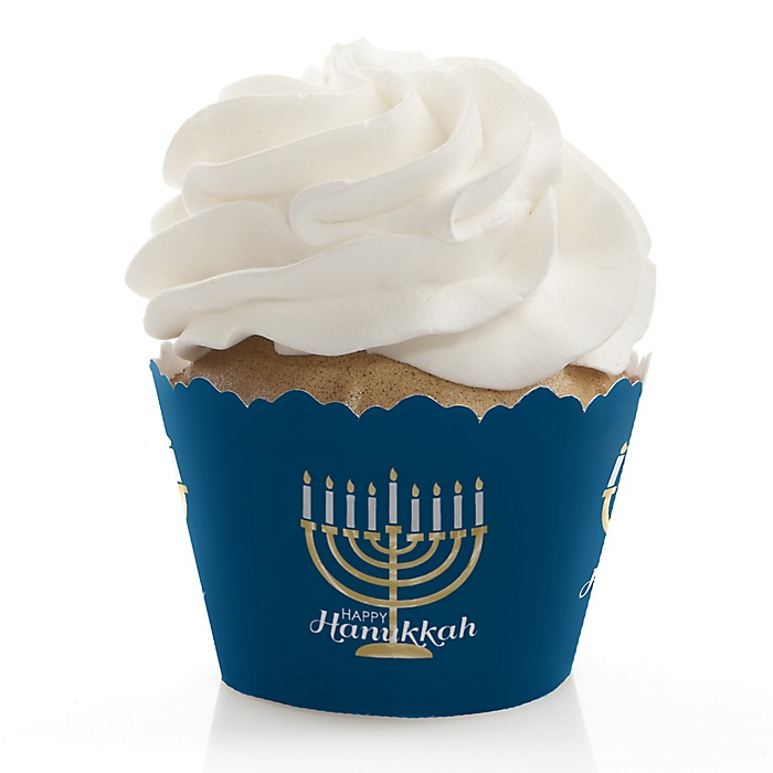 Happy Hanukkah - Chanukah Decorations - Party Cupcake Wrappers - Set of 12