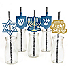 Happy Hanukkah - Paper Straw Decor - Chanukah Party Striped Decorative Straws - Set of 24