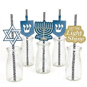 Happy Hanukkah - Paper Straw Decor - Chanukah Party Striped Decorative Straws - Set of 24