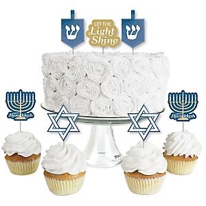 Happy Hanukkah - Dessert Cupcake Toppers - Chanukah Clear Treat Picks - Set of 24