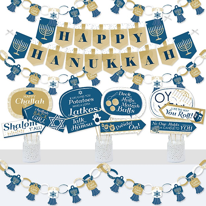 Happy Hanukkah - Banner and Photo Booth Decorations - Chanukah Holiday Party Supplies Kit - Doterrific Bundle