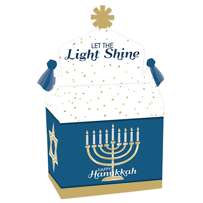 Happy Hanukkah - Treat Box Party Favors - Chanukah Holiday Party Goodie Gable Boxes - Set of 12