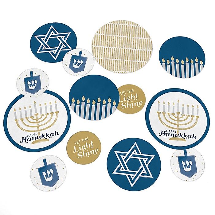 Happy Hanukkah - Chanukah Giant Circle Confetti - Hanukkah Decorations - Large Confetti 27 Count