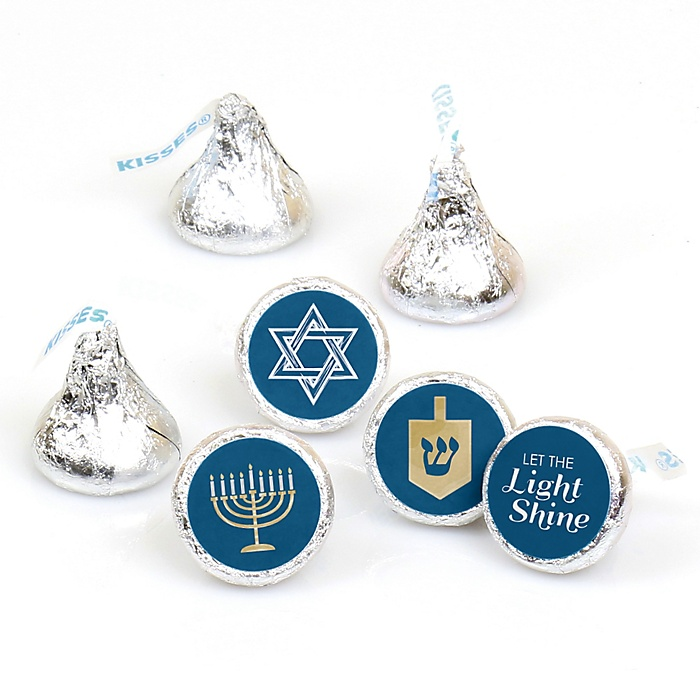 Happy Hanukkah - Round Candy Labels Chanukah Favors - Fits Hershey Kisses - 108 ct