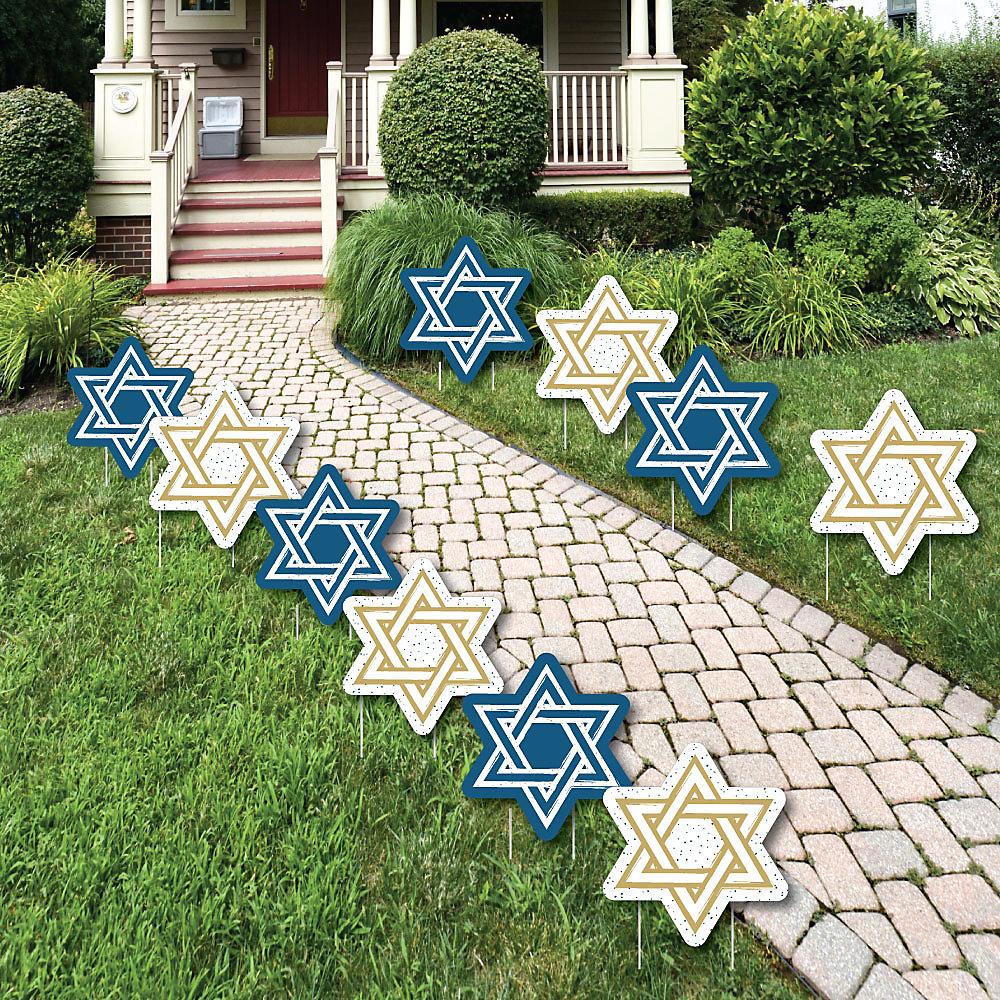 Happy Hanukkah Star Of David Lawn Decorations Outdoor Chanukah Yard Decorations 10 Piece