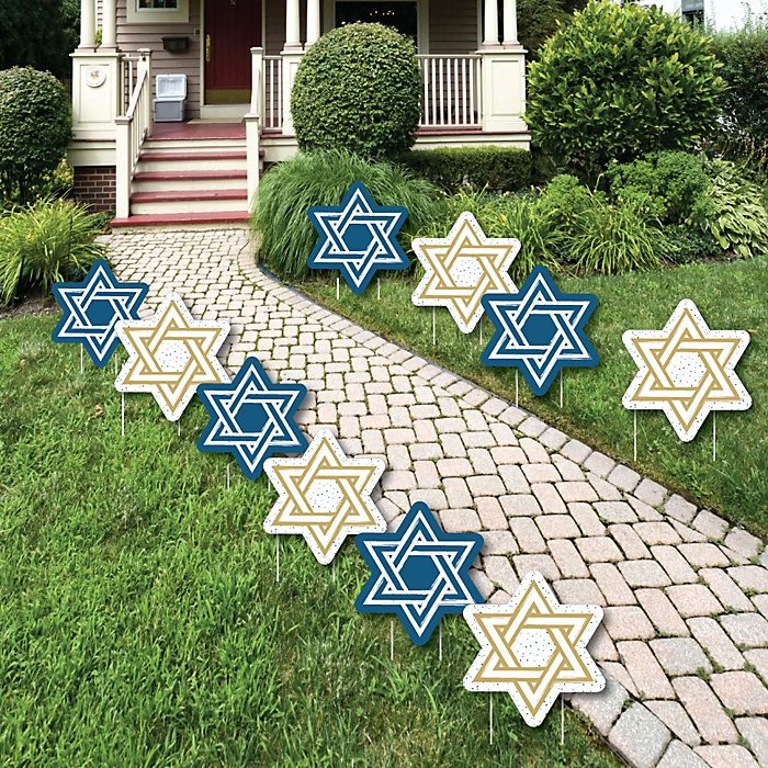 Happy Hanukkah - Star of David Lawn Decorations - Outdoor Chanukah Yard Decorations - 10 Piece