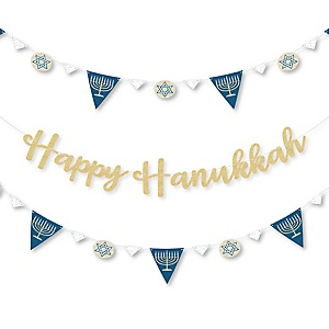 Happy Hanukkah - Chanukah Letter Banner Decoration - 36 Banner Cutouts and No-Mess Real Gold Glitter Happy Hanukkah Banner Letters