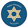 Happy Hanukkah - Personalized Chanukah Party Sticker Labels - 24 ct