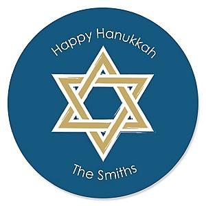 Happy Hanukkah - Personalized Chanukah Party Sticker Labels - 24 ct