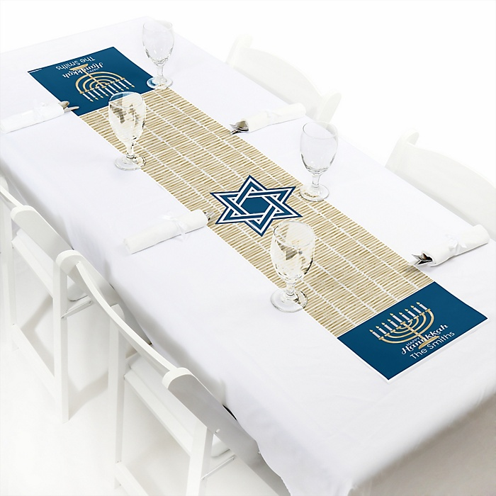 "Happy Hanukkah - Personalized Petite Chanukah Party Table Runner - 12"" x 60"""