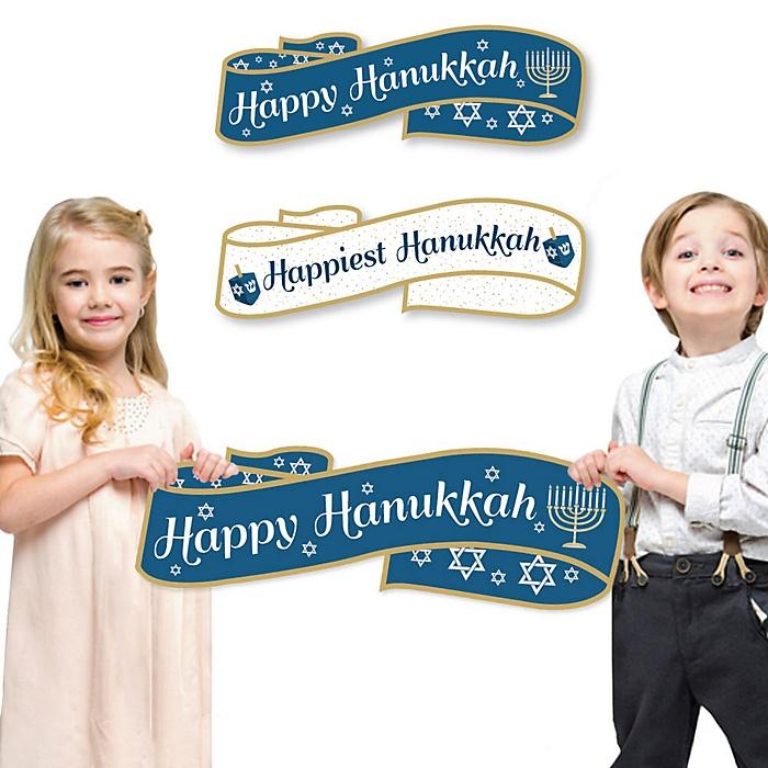 Happy Hanukkah Signs & Photo Props - Happiest Hanukkah Family Photo Props - Set of 2