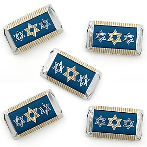 Happy Hanukkah - Mini Candy Bar Wrapper Stickers - Chanukah Small Favors - 40 Count