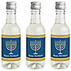 Happy Hanukkah - Mini Wine and Champagne Bottle Label Stickers - Chanukah Party Favor Gift - Set of 16