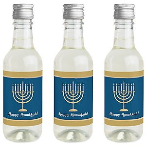 Happy Hanukkah - Mini Wine and Champagne Bottle Label Stickers - Chanukah Party Favor Gift - For Women and Men - Set of 16