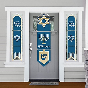 Happy Hanukkah - Hanging Porch Front Door Signs - Chanukah Holiday Party Banner Decoration Kit - Outdoor Door Decor