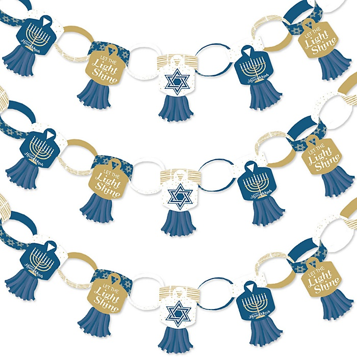 Happy Hanukkah - 90 Chain Links and 30 Paper Tassels Decoration Kit - Chanukah Holiday Party Paper Chains Garland - 21 feet