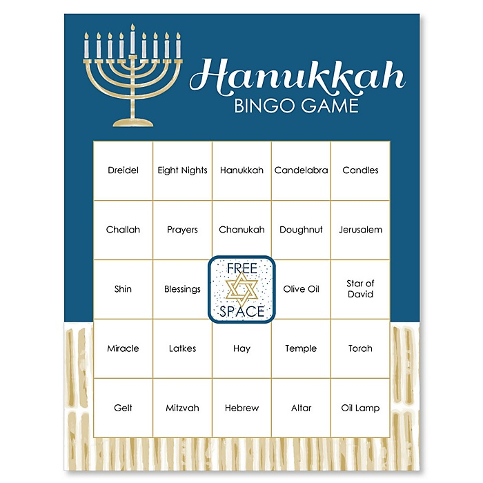 Happy Hanukkah - Chanukah Game Bingo Cards - 16 Count