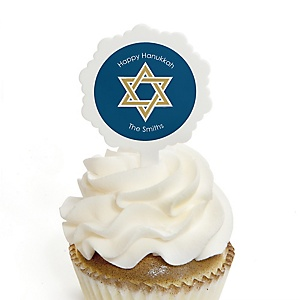 Happy Hanukkah - Cupcake Picks with Personalized Stickers - Chanukah Cupcake Toppers - 12 ct