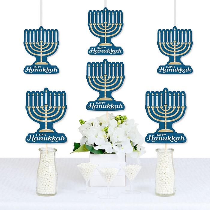 Happy Hanukkah - Menorah Decorations DIY Chanukah Party Essentials - Set of 20