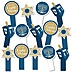 Happy Hanukkah - Chanukah Party Paddle Photo Booth Props – Selfie Photo Booth Props – Set of 14