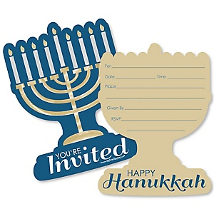 Happy Hanukkah - Shaped Fill-In Invitations - Chanukah Invitation Cards with Envelopes - Set of 12