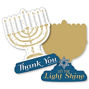 Happy Hanukkah - Shaped Thank You Cards - Chanukah Holiday Party Thank You Note Cards with Envelopes - Set of 12