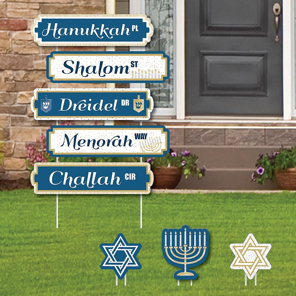 Happy Hanukkah Street Sign Cutouts Chanukah Yard Signs Decorations Set Of 8