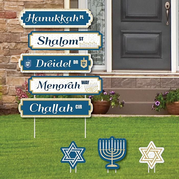 Happy Hanukkah Street Sign Cutouts - Chanukah Yard Signs & Decorations - Set of 8