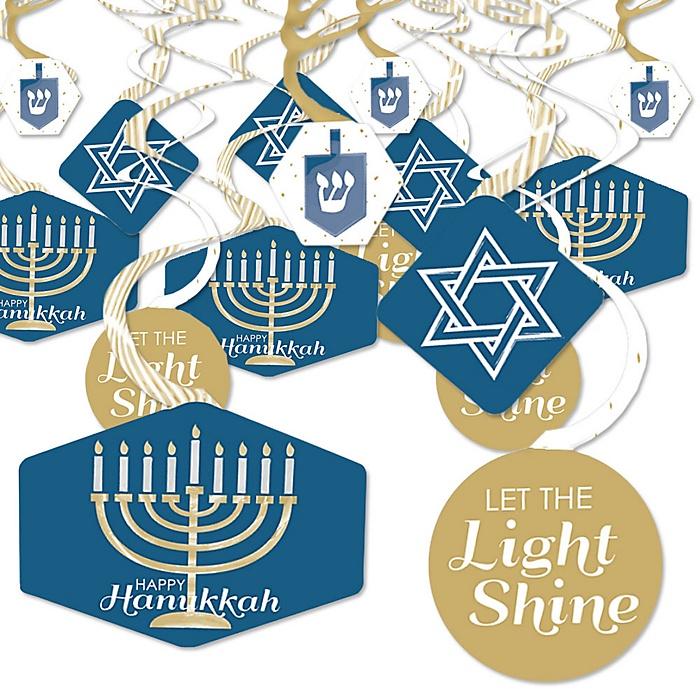 Happy Hanukkah - Chanukah Hanging Decor - Party Decoration Swirls - Set of 40