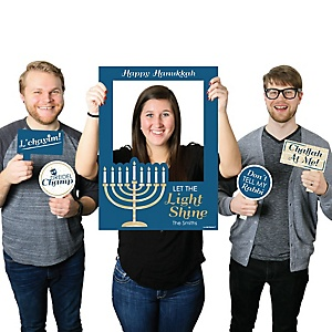 Happy Hanukkah - Personalized Chanukah Selfie Photo Booth Picture Frame & Props - Printed on Sturdy Material