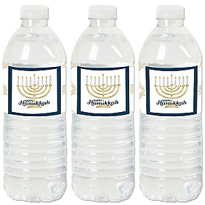 Happy Hanukkah - Chanukah Water Bottle Sticker Labels - Set of 20