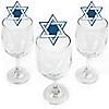 Happy Hanukkah - Shaped Chanukah Wine Glass Markers - Set of 24