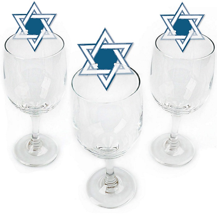 Happy Hanukkah - Shaped Chanukah Wine Glass Markers - Set of 24