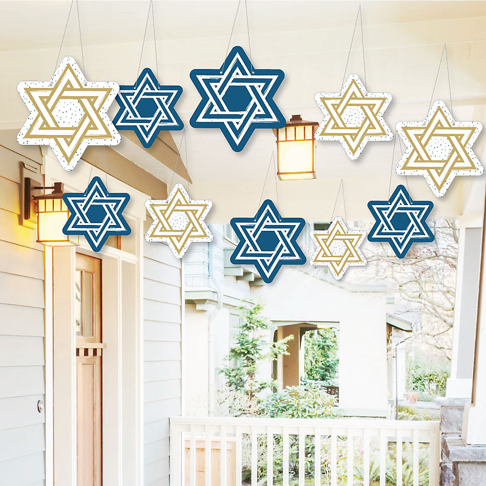 Hanging Happy Hanukkah Outdoor Chanukah Hanging Porch Tree Yard Decorations 10 Pieces