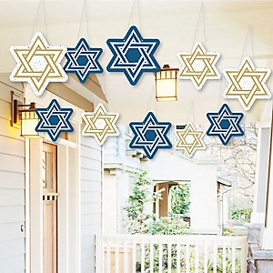 Hanging Happy Hanukkah - Outdoor Chanukah Hanging Porch & Tree Yard Decorations - 10 Pieces