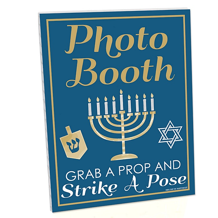 Happy Hanukkah Photo Booth Sign - Printed on Sturdy Plastic Material - 10.5 x 13.75 inches - Sign with Stand - 1 Piece