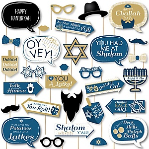 Happy Hanukkah - Chanukah Holiday Party DIY Photo Booth Decor and Accessories - Picture Perfect Props Kit - 30 Pieces
