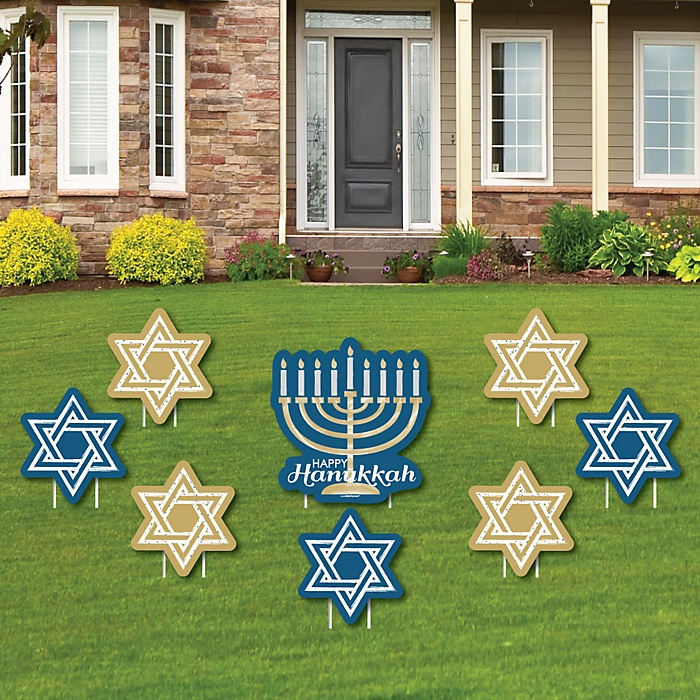 Happy Hanukkah - Yard Sign & Outdoor Lawn Decorations - Chanukah Yard Signs - Set of 8