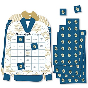 Happy Hanukkah - Bingo Cards and Markers - Chanukah Shaped Bingo Game - Set of 18