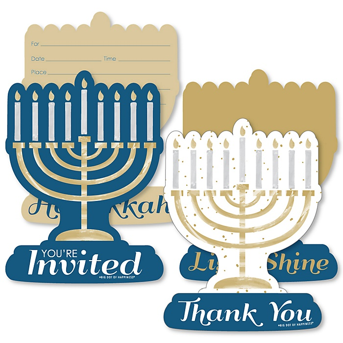 Happy Hanukkah - 20 Shaped Fill-In Invitations and 20 Shaped Thank You Cards Kit - Chanukah Holiday Party Stationery Kit - 40 Pack