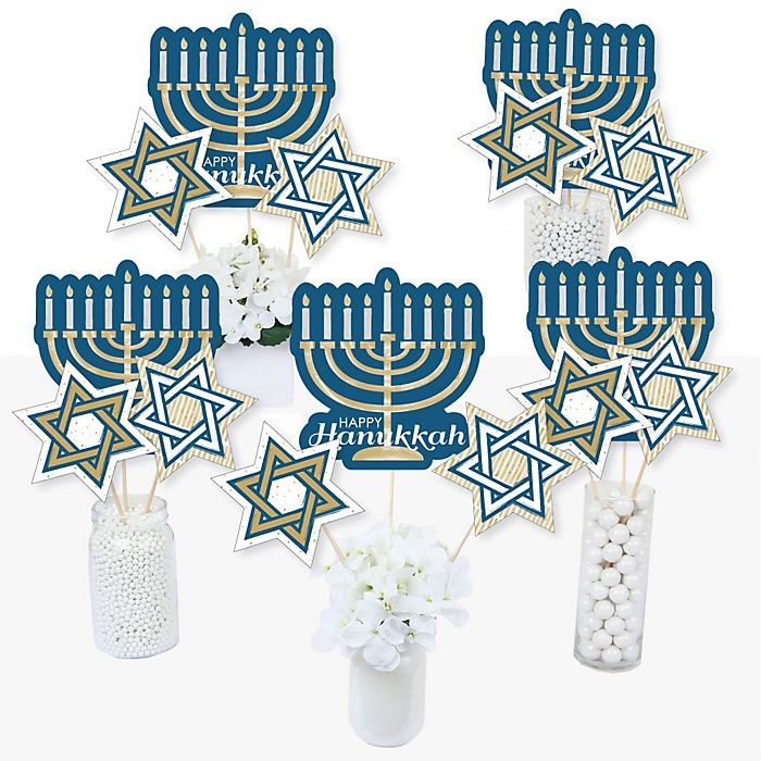 Happy Hanukkah - Chanukah Party Centerpiece Sticks - Table Toppers - Set of 15